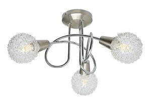 Globe Mesh Shade 3 Way Ceiling Light Spotlight Ceiling Fixture Chrome Satin Lite