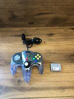 Nintendo 64 Sharkpad Pro Clear Purple Controller Tight Stick & Memory Pak Card