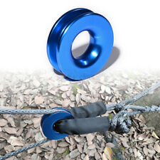 Blue Aluminum Recovery Ring Soft Shackle Snatch Block Pulley For Synthetic Rope