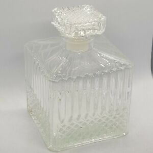 Glass Liquor Decanter Bottle Cubed Design rhombus Pattern Stopper 5""