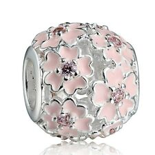 Pink Flowers 925 Sterling Silver Nice Round European Beads Fit Charms Bracelet