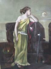 Antique Pastel Painting Drawing Nautical Woman Portrait Spyglass Widow's Walk