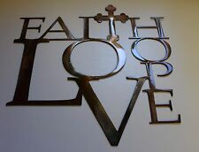 Faith Love and Hope with Cross Metal Wall Art 12""