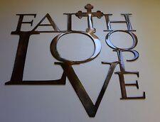 "Faith Love and Hope with Cross Metal Wall Art 12"""