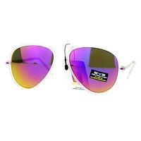 Fashion Aviator Sunglasses Unisex Frosty Clear Frame Multicolor Mirror Lens