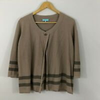 Blue Illusion Womens Top Size XL 14 16 Brown Knit Stripe Cardigan