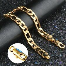 18k Yellow Gold Mens Womens Wide 8mm Figaro Cuban Curb Link Chain Bracelet D698