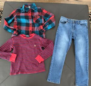 Lot 3 Boys Ralph Lauren Hawk Button Down Shirts Crazy 8 Jeans Size Small/ 8
