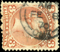 Canada #25 used F 1868 Queen Victoria 3c red Large Queen Oshawa CDS CV$20.00+