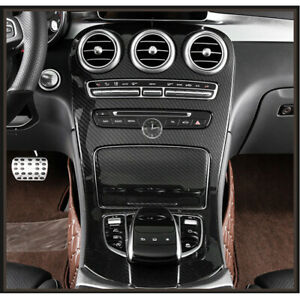 Carbon Style Center Console Gear Shift Cover Trim For Benz C-Class 2015-2018