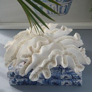 Montego White Faux Ribbon Coral L28cm x H10cm Hamptons Coastal Home Decor