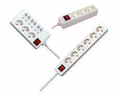 3, 4, 5, 6, 9 Fach Mehrfachsteckdose Weiß mit Kinderschutz und Schalter Stecker