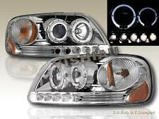 97-03 Ford F150 / 97-02 Expedition Dual Halo LED Projector Headlights Chrome