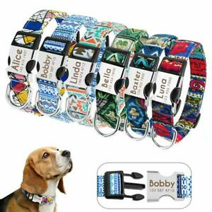 Custom Dog Collar with Name Engraved Buckle Personalised Nylon Dog Collars S M L