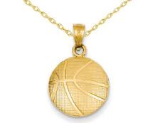 Баскетбольная подвеска ожерелье в 14K желтое золото с цепочкой