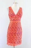 BCBG Max Azria Gabrielle Orange Pink Sequin Sheath Dress Size XS Party V Neck