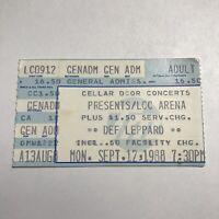 Def Leppard Lakewood Civic Center Arena Florida Concert Ticket Stub Vintage 1988