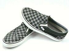 VANS Classic Slip On Skate Shoes Black Gray Checkered Canvas Mens 8 Womens 9.5
