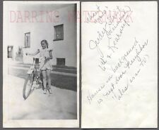 Vintage 1950s Photo Cute Girl w/ Bicycle Bike Notes 739478