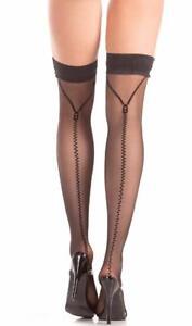 Zippered Up Print Back Seam Thigh Highs Stay Ups Costume Hosiery BW787