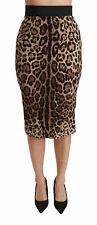 DOLCE & GABBANA Skirt Brown Leopard High Waist Pencil Cut Midi IT38/US4 /XS $900