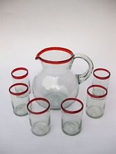 Mexican Glassware - Ruby Red Rim pitcher and 6 drinking glasses set