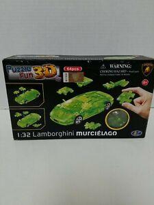 64 pcs 3D puzzle Lamborghini Murcielago 1:32 Scale Lime Green New in Box