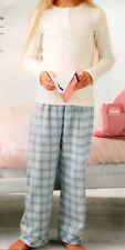 Schlafanzug Pyjama Set Mädchen Gr. 122/128 creme/blau kariert Flanell