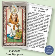 SAINT DYMPHNA PRAYER CARD WITH COLOUR MEDAL - FOR MENTAL + NERVOUS DISORDERS
