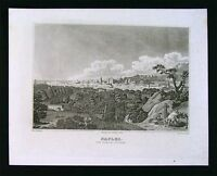 1847 Malte-Brun Engraved Print - View of Naples Italy by W.M. Craig - Europe