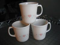 Vintage Corning Forever Yours Coffee Mugs Set of 3 USA Pink Hearts Mugs