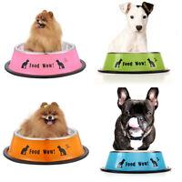 Anti Skid Stainless Steel Pet Dog Cat Puppy Feeding Feeder Food Water Bowl Dish
