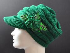 C.C Exclusives Knit Green Hat Cap Flower Ribbon Sequin Piping Brim Visor P20