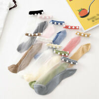 New Pearls Thin Short Socks See Through Women Summer Casual Ankle Socks Hosiery