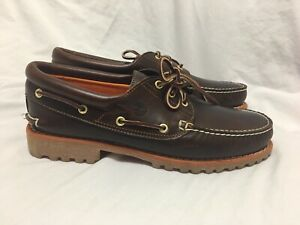 Timberland Men 11M Earthkeepers 3-Eye Classic Cloth Lined Boat Shoe Brown 6500A