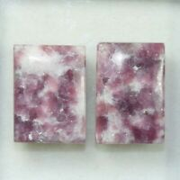 Pair 43.85 Cts. 100 % Natural Lepidolite Untreated Cushion Cabochon Loose Gems