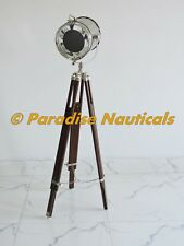 Marine Designer Spotlight Search Light Decorative Floor Lamp w/ Wooden Tripod
