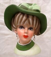 "NAPCOWARE HEAD VASE PLANTER 6"" WITH HAT, FAUX PEARL NECKLACE & EARRINGS IN GREEN"