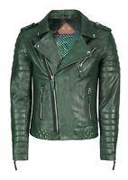 SkinOutfit Mens Motorcycle Cafe Racer Biker Genuine Leather Jacket Green Wrinkle