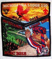 MICHIGAMEA 110 CALUMET BSA 2-PATCH OA 100TH ANN 2015 CENTENNIAL NOAC FLAP PIRATE