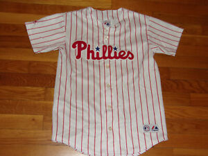 MAJESTIC PHILADELPHIA PHILLIES WAGNER BUTTON-FRONT BASEBALL JERSEY BOYS LARGE