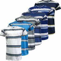 New Mens Striped Top Shirt Summer Holiday Fancy Short Sleeve Stripe T-Shirt Tee