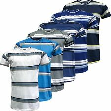 New Mens Striped Top Shirt Summer Holiday Fancy Short Sleeve Stripe T-Shirt Tee
