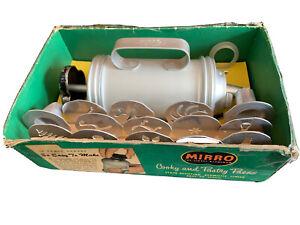 Vtg Large Mirro Cookie Pastry Press Spritz Cookies 11 Discs 3 Tips Rack Cooky