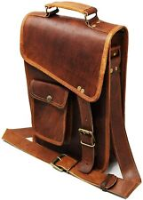 "13"" leather messenger bag laptop case office briefcase gift for men computer dis"