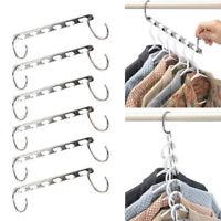 6pcs Stainless Iron Magic Clothes Hanger Rack Hooks Closet Organizer Space Saver