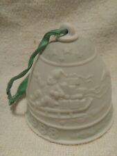 "Lladro 1988 Christmas Bell white bisque Santa sleigh reindeer 3"" tall No box"
