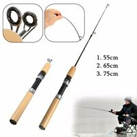 Mini Pocket Telescopic Winter Ice Fishing Rod Pole Travel Fishing Pen Wood Style
