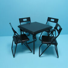 Dollhouse Miniature Folding Metal Card Table and 4 Folding Chairs T4247