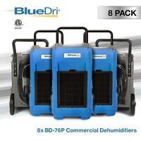 8 Pack BlueDri BD-76P Industrial Grade Commercial Industrial Dehumidifier, Blue
